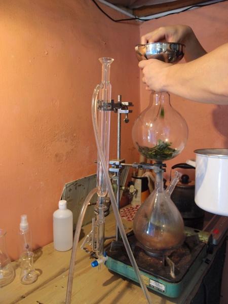 素敵な蒸留器はアメリカ製。実験くん開始!