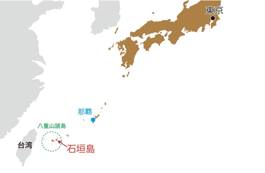 石垣島は地図で見るとココ。