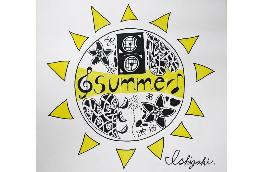 エントリーNo.11「太陽(ティダ)より熱い!SUMMERFES♪」:太陽より熱く!ということで、太陽をコンセプトにスイカや花火、花などで夏を表現して、音符やスピーカーで音楽を表現しました。ハートの中の植物のデザインを頑張りました。