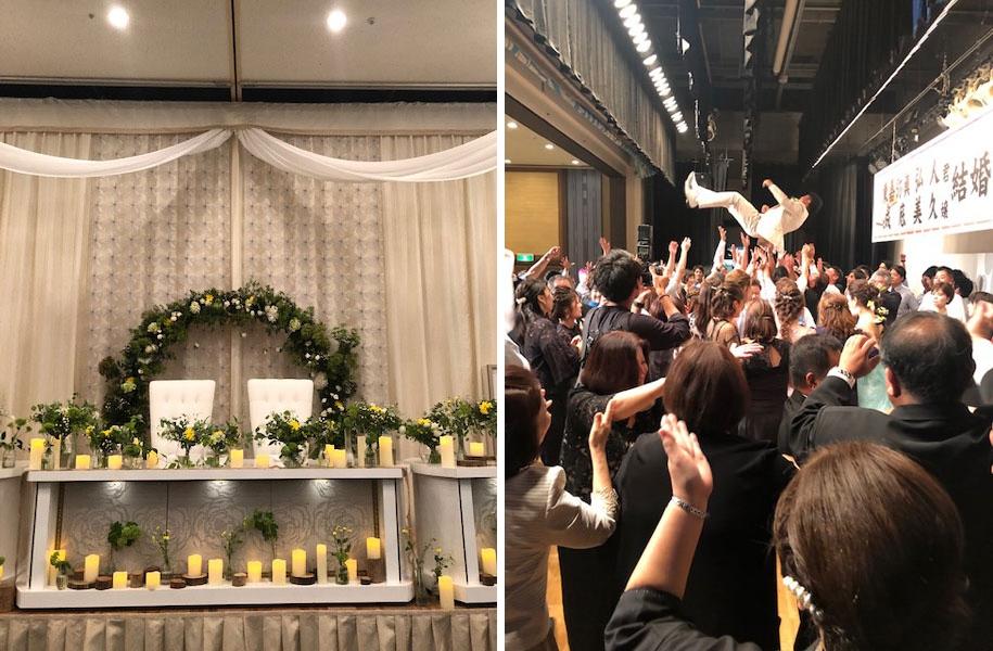会場装飾もお二人の気持ちがこめられていました♪舞台の上にもかなりのゲストがあがり、お二人を祝福されていましたよ。