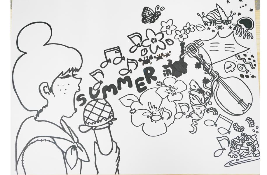 エントリーNo.10「let'ssingIshigaki♪」:女の子の歌声が石垣のものや生き物のリズムとなってあふれ出している様子を描きました。女の子は島の子をイメージしてオリオン座も隠れています。