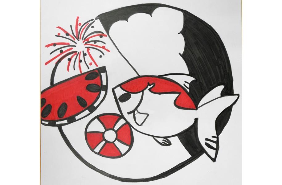 エントリーNo.14「夏をかき集めて」:夏といえばで思い浮かぶものを丸の中に出来るだけ多くかき集めました。丸の中から少しはみださせて、飛び出てみえるようにしました。そして注目するように目立つ赤で主張するように工夫しました。