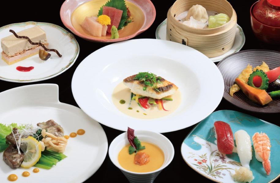 和洋中ホテルシェフの技が結集。肉も魚介も野菜もふんだんにご堪能ください