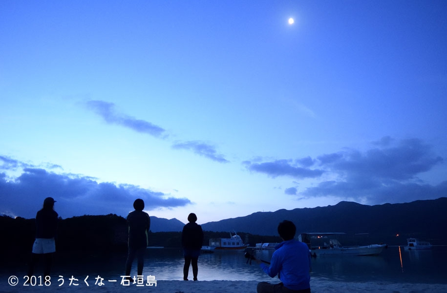 高く昇る上限の月が照らす晩夏の星空