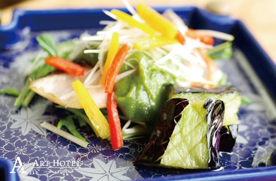 青鯛と揚げ茄子の法蓮草味噌焼き
