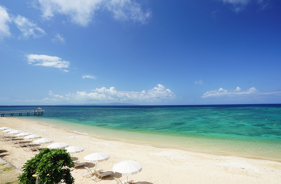 絶景が広がるフサキビーチ。