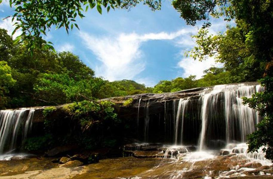 西表島サンガラの滝:幅が約30mあり、裏側に入れたり、滝壺で遊べたりするのが魅力!カヌー&トレッキングへ滝まで行きます。